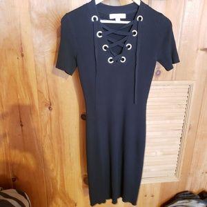 NWOT Michael Kors Ribbed Tie Neck dress